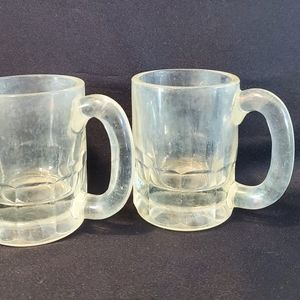 2 Vintage Glass Child's Baby Root Beer Mugs